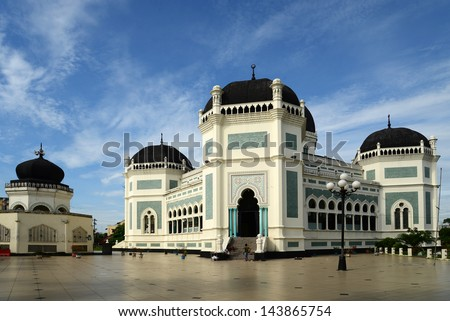 The Great Mosque (Masjid Raya) in Medan, Indonesia - stock photo