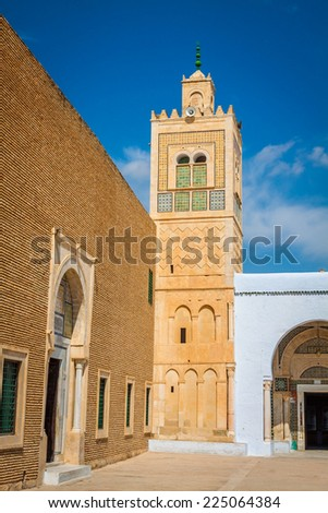 The Great Mosque of Kairouan in Tunisia - stock photo