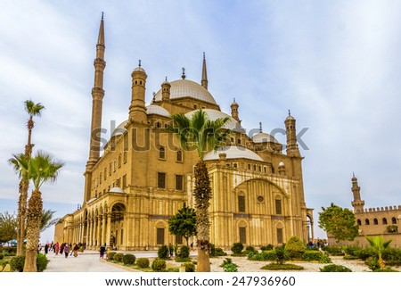 The great Mosque of Muhammad Ali Pasha in Cairo - Egypt - stock photo