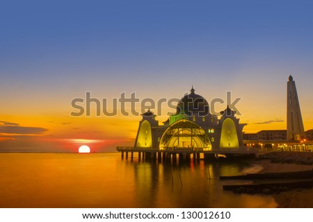 the great of sunset at selat mosque - stock photo