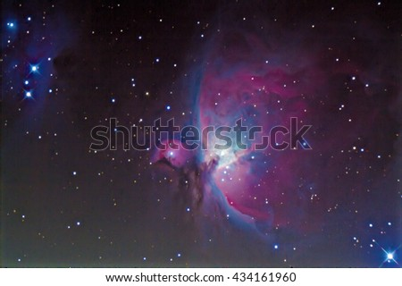 The great Orion nebula, messier Forty two. Taken by my telescope. - stock photo