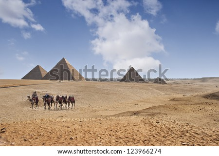 The great pyramids of Giza in Cairo, Egypt. - stock photo