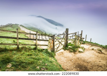 The Great Ridge Fence in the Peak District, England - stock photo