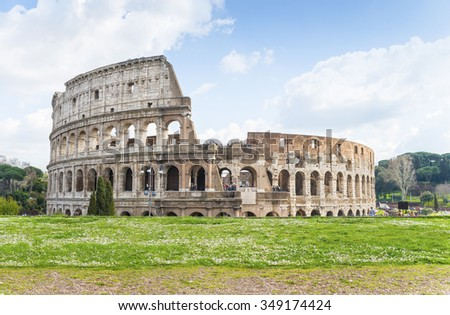 The Great Roman Colosseum (Coliseum, Colosseo)also known as the Flavian Amphitheatre.This mega structure is one of the wonders of the world. Panoramic view from Forum Romanum. Rome. Italy. Europe. - stock photo