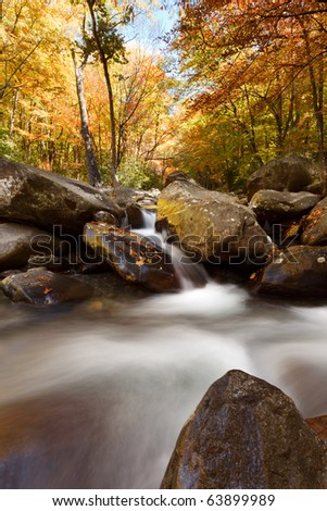 The Great Smoky Mountains National park, stream in the mountains, fall colors. - stock photo
