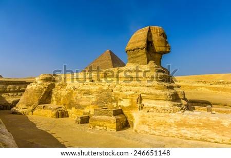 The Great Sphinx and the Great Pyramid of Giza - stock photo