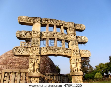 historical monument the great stupa' at The great stupa at sanchi (la plante, figures 32, 33, 34)  notes: what  monuments and symbols are adopted by early buddhists  the stupa was an  actual tomb, placed over the remains of the historical buddha or other holy  persons.