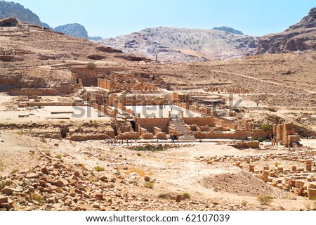 The Great Temple Complex, one of the the major archaeological and architectural monuments of central Petra. Ancient city of Petra, Jordan - stock photo