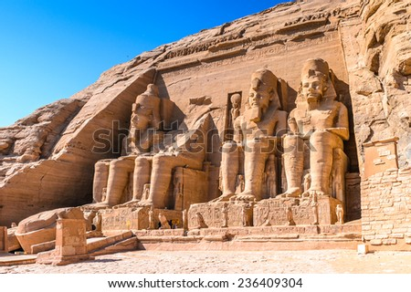 The Great Temple of Ramesses II, Abu Simbel, Egypt - stock photo
