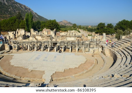 The Great Theater in Ephesus, Turkey - stock photo