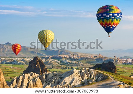 The great tourist attraction is the Cappadocia balloon flight. Cappadocia is known around the world as one of the best places to fly with hot air balloons. Goreme, Cappadocia, Turkey - stock photo