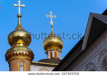 The great Trinity monastery in a Sergiyev Posad near Moscow. Golden Ring of Russia - stock photo