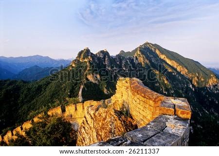 The Great Wall of china at Sunset (Jiankou) - stock photo