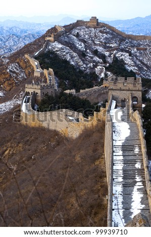 The great wall of china on a cold winter  day - stock photo