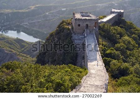 The Great wall of China when sunset, Simatai - stock photo