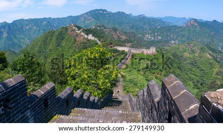 The Great Wall of China (Yellow Cliff). The main Great Wall line stretches from Shanhaiguan in the east, to Lop Lake in the west, along an arc that delineates the southern edge of Inner Mongolia