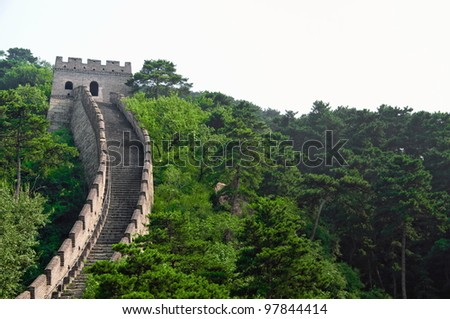 The Great Wall section in Mutianyu site near Beijing - stock photo