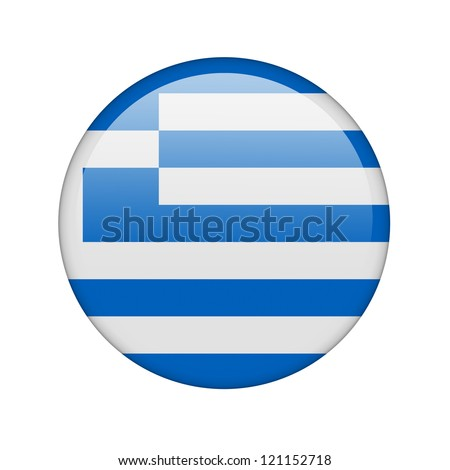 The Greek flag in the form of a glossy icon. - stock photo