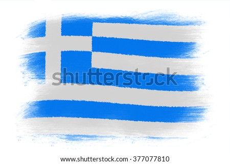 The Greek flag - Painted grunge flag, brush strokes. Isolated on white background.