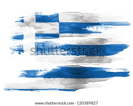 The Greek flag painted on  white paper with watercolor