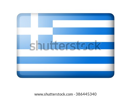 The Greek flag. Rectangular matte icon. Isolated on white background. - stock photo