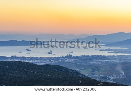 The Greek Shipyards are the largest and oldest modern shipbuilding facilities in Greece. Located near Scaramanga west of Attica in the bay of Scaramanga. Attica - Greece - stock photo
