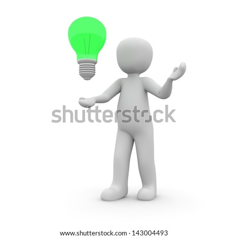 The green bulb Displays the character has a good idea.