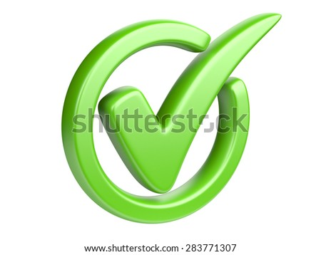 The green check mark isolated on a white.