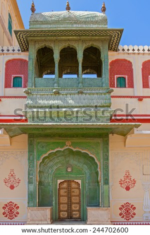 The Green Gate (Leheriya) in Pitam Niwas Chowk, Jaipur City Palace, India. - stock photo