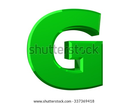the green letter G on white background 3d rendering - stock photo