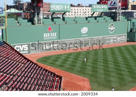 The Green Monster - left field wall of Fenway Park - stock photo
