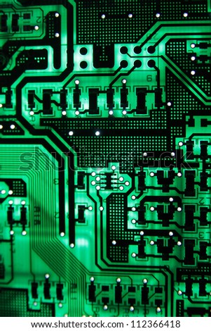 The Green PCB on the lighting. - stock photo