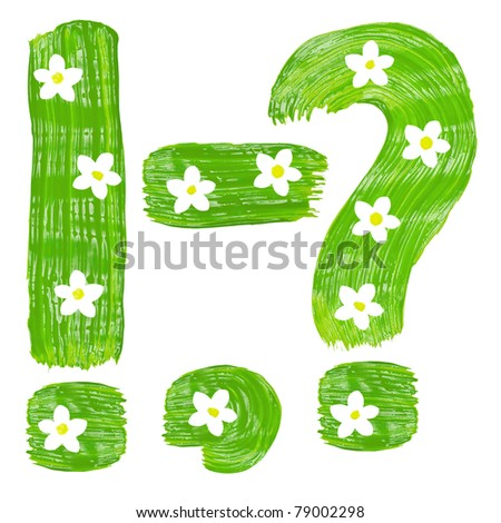 The green punctuation marks drawn by paints with white blossom