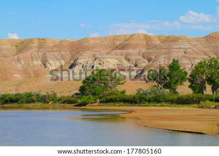 The Green River as it flows through Ouray National Wildlife Refuge in Utah - stock photo