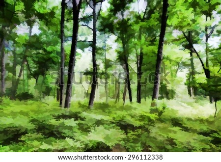 The green woods of summer in the Poconos of Pennsylvania - transformed into a colorful digital painting - stock photo