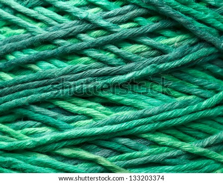 The green yarn used for knitting clothes