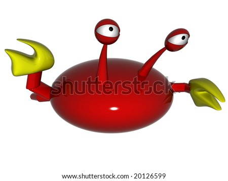 The greeting of a crab. 3d render. Isolated on white background. - stock photo