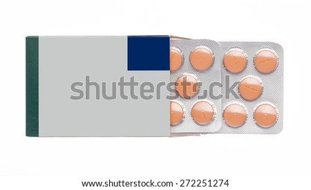 The grey box with orange pills blister pack on an white background - stock photo