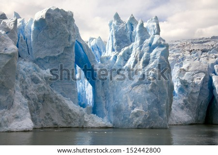 The Grey Glacier in Torres del Paine National Park in the Southern Patagonian Ice Field in Patagonia, southern Chile - stock photo