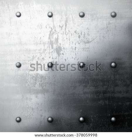 The grey grunge metal background with rivets