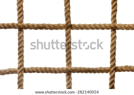 The grid cells of thick rope as background on white