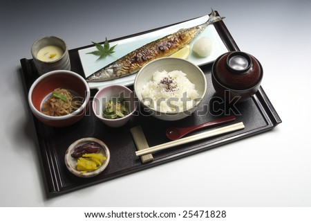 The grilled fish set meal of the saury	 - stock photo