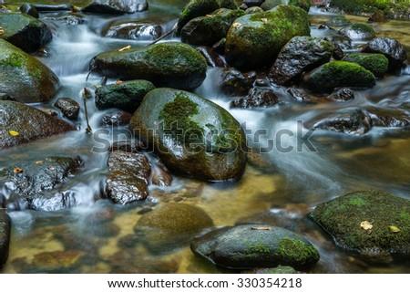 The Grobbach brook in Geroldsau, Black Forest, Baden-Wuerttemberg, Germany, Europe - stock photo