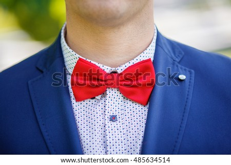 The groom in a blue suit with a red butterfly and buttonhole-flower