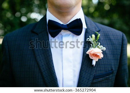 The groom in a suit with a buttonhole and a butterfly - stock photo