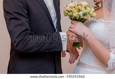 groom presents brides bouquet stock photo royalty free 590241866