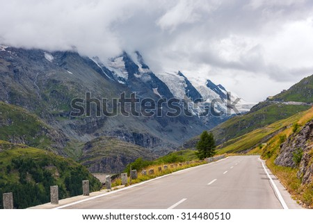 The Grossglockner high Alpine road in overcast foggy weather