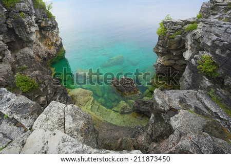 The Grotto at Bruce Peninsula National Park, Tobermory Ontario, Canada  - stock photo