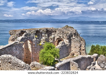 The Grotto Catullus in Sirmione at the Lake Garda is a famous ancient with museum and open air attractions - stock photo