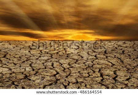 The ground cracked soil in summer with dramatic sunset, selective focus.